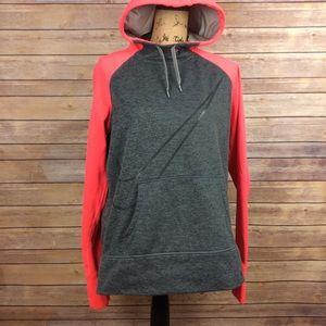 Nike Large Pink Gray Therma-fit Hooded Sweatshirt